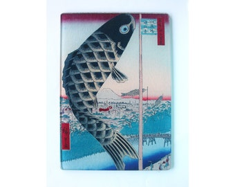 Carp  or Boys Day  tempered Glass cutting board
