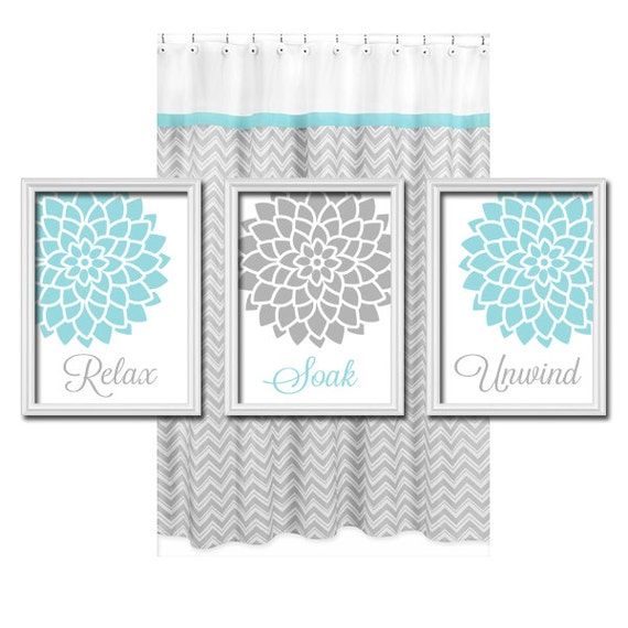 Aqua gray bathroom wall art bathroom flower bathroom by for Blue and grey bathroom sets