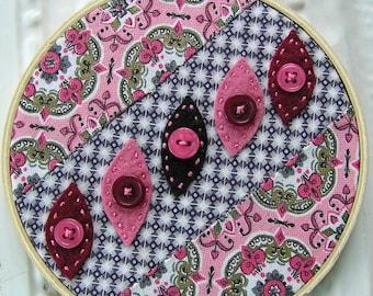 Embroidered Hoop Wall Art - Retro Folk Art - Zilpha - Childhood Authors - Reclaimed Quilt Block - Americana
