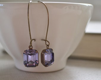 Tanzanite Estate Earrings, Vintage Glass Rhinestone, Antiqued Brass Kidney Wire, Hollywood Glam