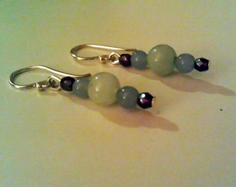 Green Quartz, Angelite, and Czech Glass Earrings
