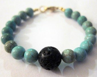 Green Magnesite and Lava Rock Bracelet