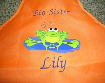 Child's Apron Monogrammed Name Great Party Favor Orange & Green Available