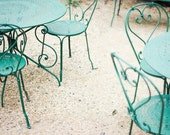 "Fine art photography - mint aqua green metal chairs - dining room kitchen art - pale beige cream wall art - spirals ""Green Chairs"""