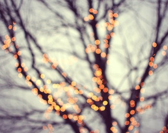 "Winter Tree Print | Holiday Decor | Bokeh lights | Surreal Art Print | Gold and Blue | Tree Wall Art | ""Turn Into Stars"""