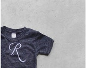 Custom monogram children's tshirt - hand-printed initial in white ink on eco black crew neck tees - personalized gift for kids