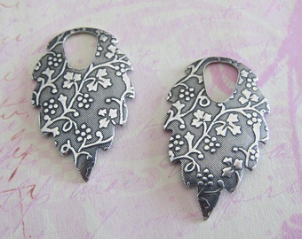 2 Silver Drop Charms 2378