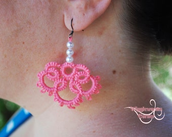 Hand Tatted Earrings, Wedding, beads, tatting (Ready to ship) Free shipping in USA