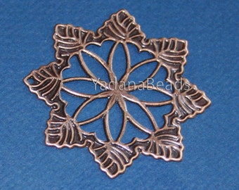 10 pcs of Antiqued Copper filigree pendant drop 50mm
