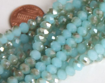 18 inch Strand of electoro plated glass faceted rondelle beads 4x6mm Gold/Amazonite