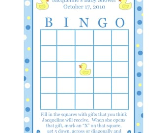 24 Personalized Baby Shower Bingo Cards    - BLUE DUCKY