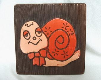 Vintage Chalkware Snail Plaque