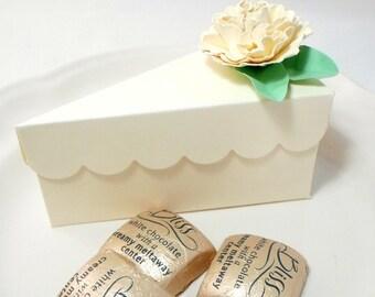 Ivory Cake Slice Favor Box - Wedding Favors, Shower Favors in Cream with Handmade Flowers