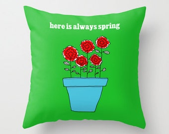 Red Flowers Pillow Cover, Decorative Throw Pillow Cover, Green and red flowers pillow, Romantic Pillow, couple pillow, Love pillow case