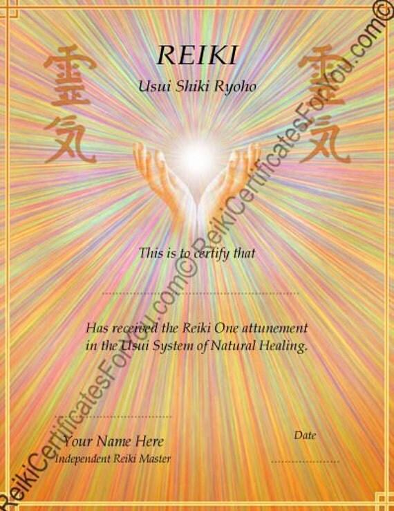 Reiki certificate template healing hands for Reiki level 1 certificate template