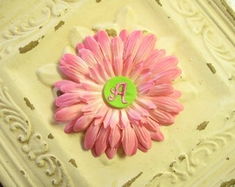 50% OFF--Light Pink Gerbera Daisy Flower Clip w/ Lime Green Monogrammed Initial Embellishment Button--You Choose Initial