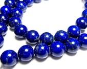 AAA Afgani LAPIS Round Beads - Gem Grade - Smooth - 6mm, 8 inches   (ref.18540)