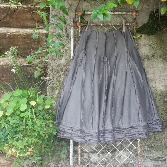 SALE  Charcoal Silk Taffeta Skirt Size Large