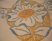 Vintage 4 Pc. Embroidered Dresser Scarf Set in Blue and Gold