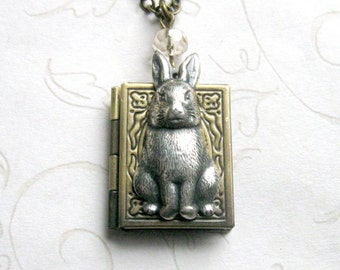 Bunny rabbit necklace, book locket - keepsake jewelry - Spring necklace