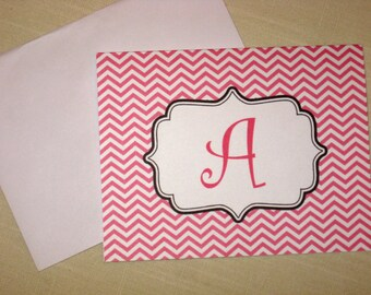 Chevron Note Cards - Set of 8 Personalized Note Cards - Choose Color