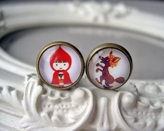 Little red Riding Hood and Big Bad Wolf  clip earrings sweet lolita feminine