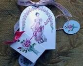 Instant Digital download BOX Wedding Favor Party Jane Austen  Pride and Prejudice Rose Birthday Tags Vintage Printable Template Vintage