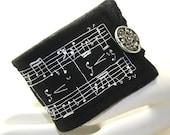 Fabric Textile Wrist Cuff Sheet Music Hand Embroidery Black Wool