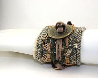 Dragon Coin Textile Fabric Herringbone Cuff Bracelet
