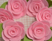 Set of 6pcs felt flower--baby pink (FT982)
