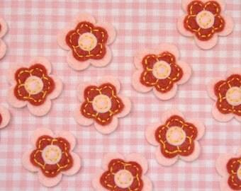 Set of 12pcs felt flower--light pink (FT406)