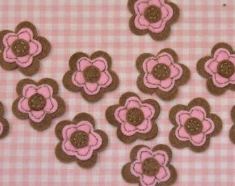 Set of 12pcs felt flower--chocolate (FT406)