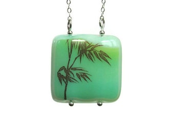 Bamboo Fused Glass Necklace Sterling Silver Aqua Green