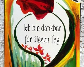 ICH BIN DANKBAR German Deutsch Inspirational Quote Motivational Print Typography Gratitude Positive Think Heartful Art by Raphaella Vaisseau