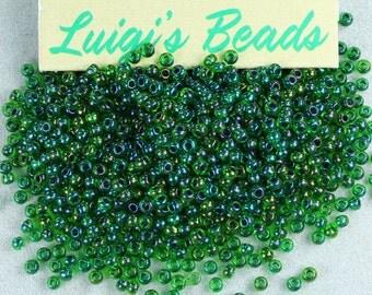 11/0 Round TOHO Seed Beads Rainbow Peridot/Opaque Green Lined 15g
