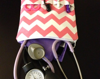 PINK chevron NURSING PURSE - nurse organizer for a stethoscope/ bp cuff -pink & white (medical pouch, pockets for penlight and tools)
