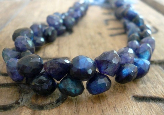 Flashy Spectrolite (blue Labradorite) faceted onion briolettes - 7mm, 1/2 strand