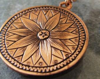 Hand Engraved Copper Flower Pendant