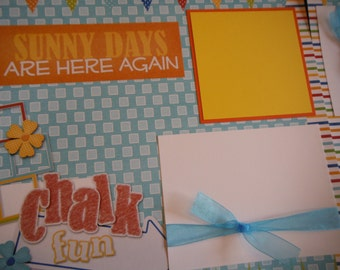 CHalk Fun Sidewalk Chalk park 12x12 Scrapbook Pages for your FAMILY  Boy GIRL SUMMER Play date