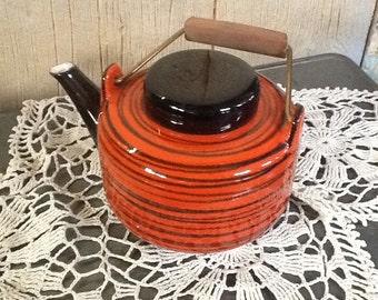 Vintage Retro 1960s Era Orange and Black China Teapot
