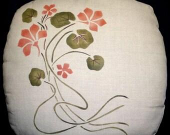 Stenciled Nasturtium Pillow Art Nouveau, Arts and Crafts