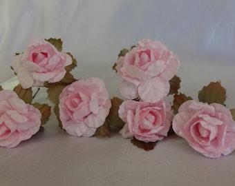 Bridal Hair Wedding Hair Pink Rose Flower Fascinator Floral Hairpins (set of 6)