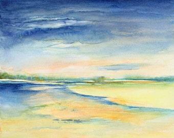watercolor painting Seascape. 10 1/2 x 8 Giclee print.  original watercolor art.seascape. coastal art, pastel colors, blue,yellow.
