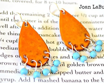 Orange Turquoise Bohemian Enamel  Earrings Caribbean
