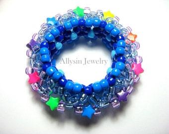3D Kandi Cuff, Blue, Stars, Disc Style, Neon Rainbow Bracelet, , Rave Plur Kandi