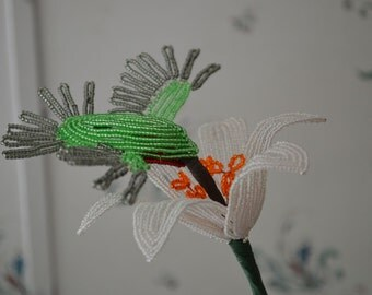NEW French beaded handmade Lily flower with Hummingbird in pot