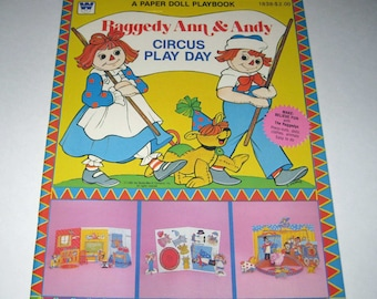 Vintage 1980s Raggedy Ann and Andy Circus Play Day Paper Doll and Activity Book for Children Uncut by Whitman