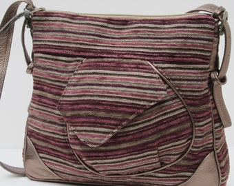 LARGE SHOULDER BAG   Yipe s Stripes Fabric with Leather Trim