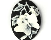 Plastic Cameos 25x18mm Butterfly and Flower Black / White (3) IC058