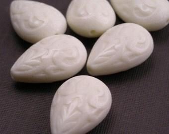 6 Large Vintage Plastic Ornate Carved Teardrop Beads - Ivory VPB161